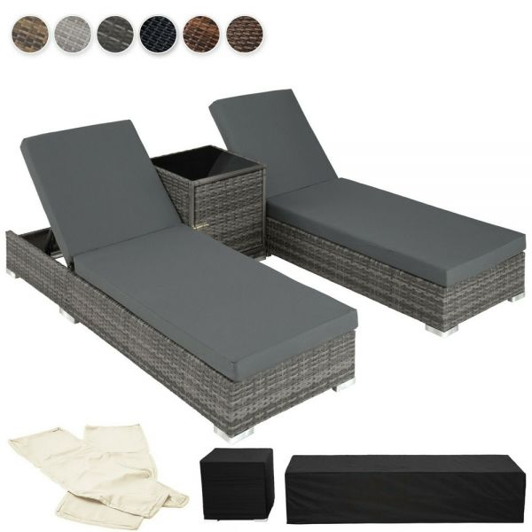 2x Rattan Sun Loungers Recliner With Table - 5 Colours
