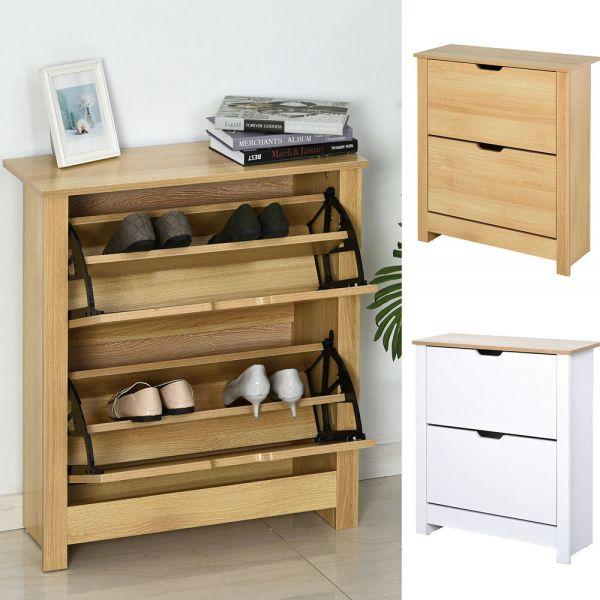Modern Design Shoe Storage Cabinet 4 Shelves 2 Drawers - Brown