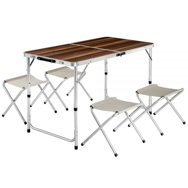 Portable Garden Table With 4 Stools Set