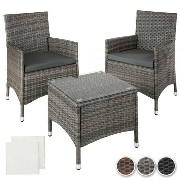 Poly Rattan 2 Garden Chair and Table  - 3 Colours
