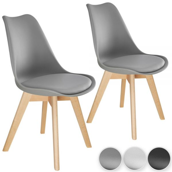 Scandinavian Style Dining Chairs 3 Colours - Set of 2