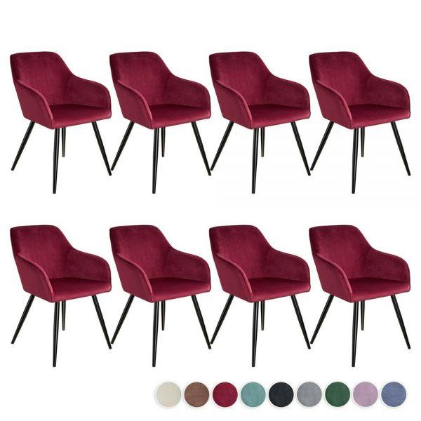 Executive Velvet Padded Black Legs Tub Chairs Set Of 8 - 9 Colours