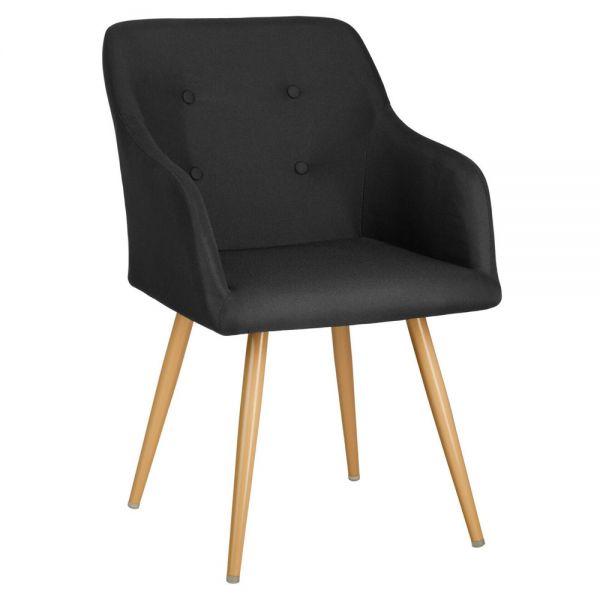 Versatile Upholstered Padded Tub Chair Gold Legs - Black