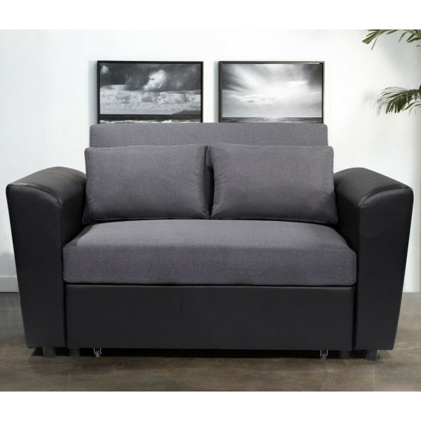 Victor Sofabed 2 Seat Pull Out Option - Grey Linen Black PU