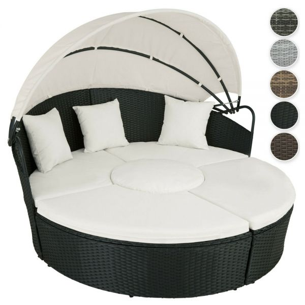 Poly Rattan Garden Day Bed With Sunshade - 6 Colours