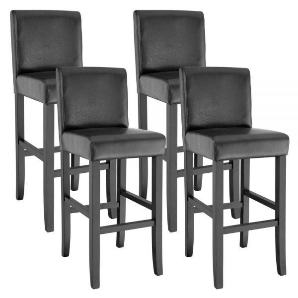Synthetic Leather Bar Stool Set of 4 - Black Colour