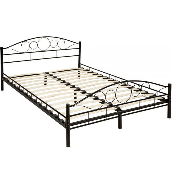Modern Metal Bed Frame With Slatted Base Standard Size 140x200 - Black Colour