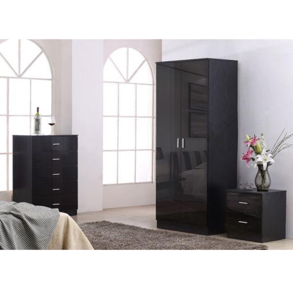 Modern Wardrobe Trio Set - Black Gloss with Black Oak Frame