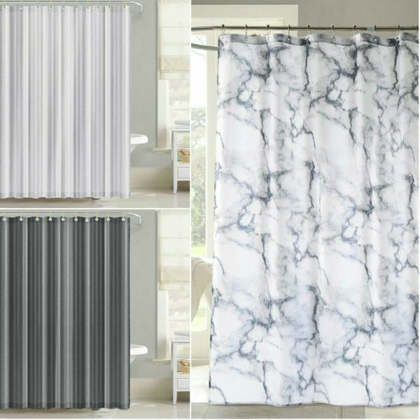 Vinyl Fabric Hotel Quality Waterproof Shower Curtains 3 Colours - 2 Sizes