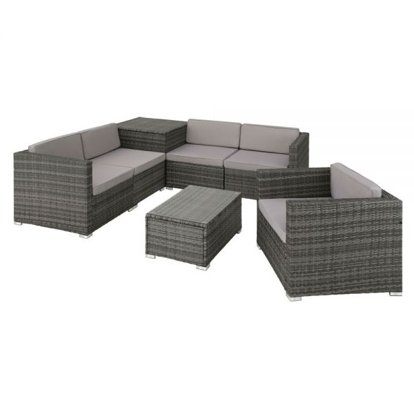Poly Rattan Table 5 seats with Storage Box and Cushions Set - Grey Colour