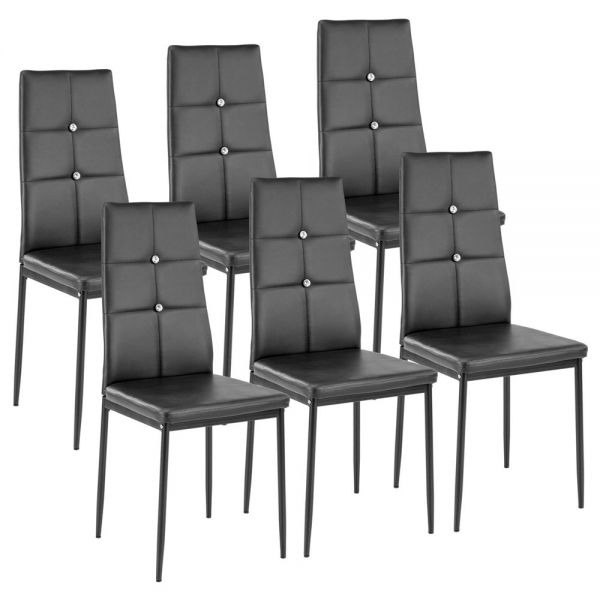 Faux Leather Dining Chairs Cozy Black with Rhinestones - Set of 6