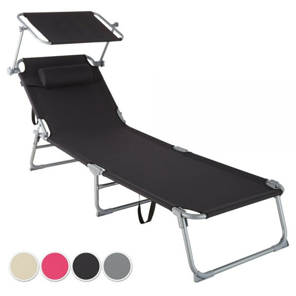 Portable Sun Lounger With Sun Visor and Pillow Backrest - 4 Colours