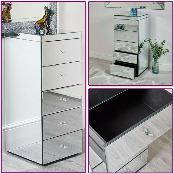 5 Drawer Mirrored Tall Chest Of Drawers
