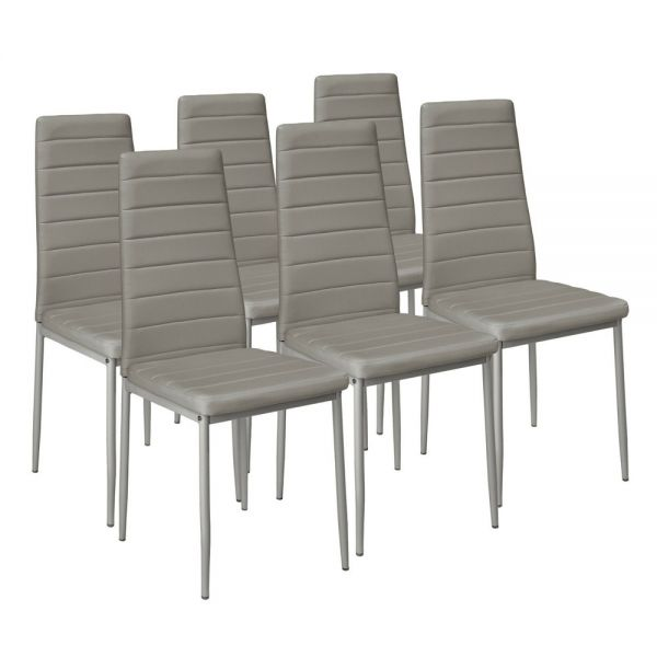 Modern Faux Leather Dining Chairs Grey Colours - Set of 6