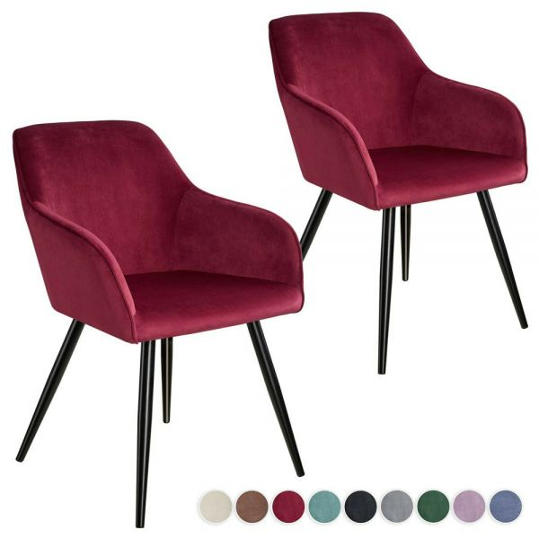 Velvet Look Dining Chair Black Legs Various Colours - Set of 2