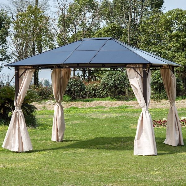 Outsunny Patio Metal Gazebo with Side Wall Curtain - Brown/Beige