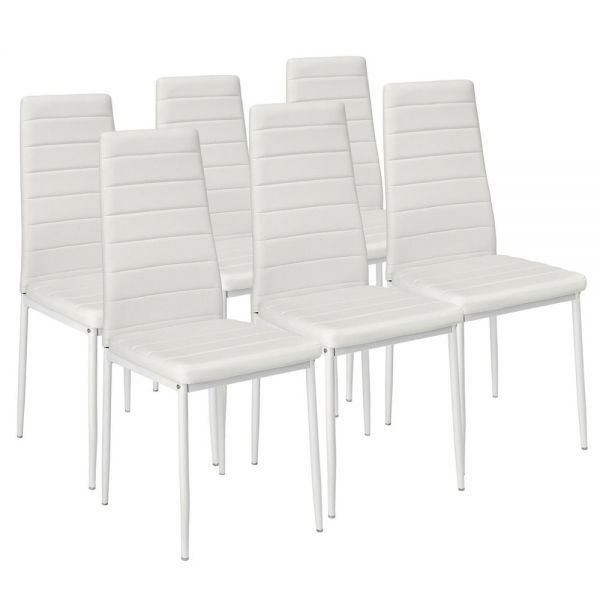 Elegant Faux Leather Dining Chairs Set of 6 - White