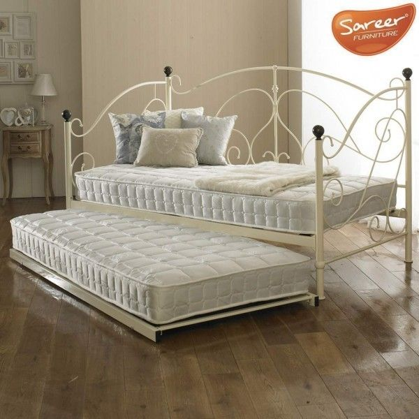 Sareer Milano Cream Metal Day Bed w/ Trundle