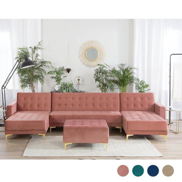 Abbie Velvet Modular U-Shaped Sofa 5-Seater with Ottoman - 4 Colours