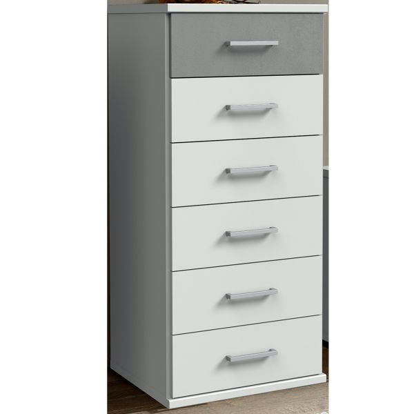 Cadiz Narrow 6 Drawer Chest - White and Grey
