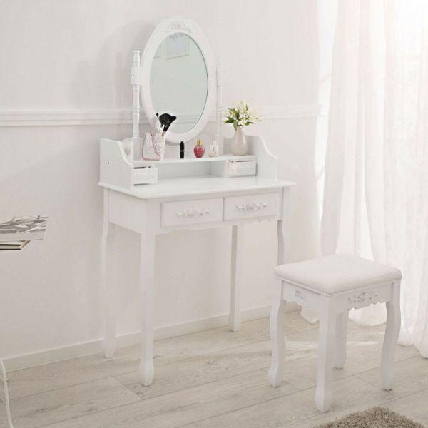 Vintage Dressing Table Set - White