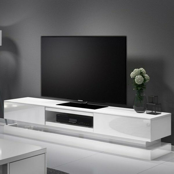 Evoque Large High Gloss TV Unit with LED Lighting - White