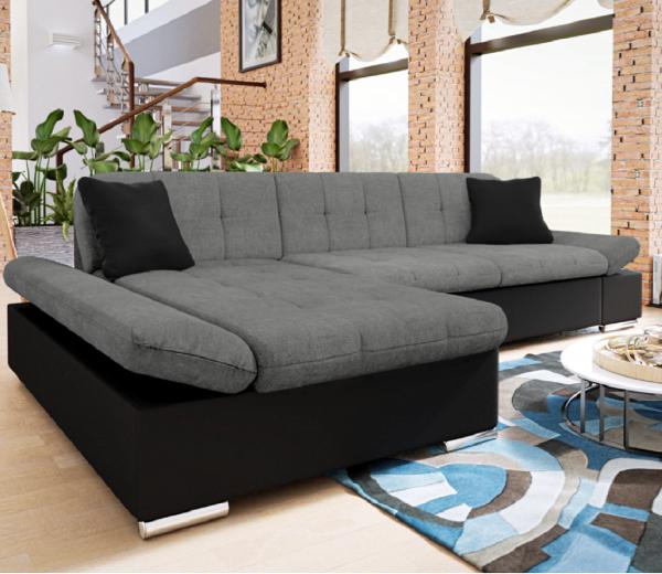 Malvi Leather & Fabric Storage Corner Sofa Bed