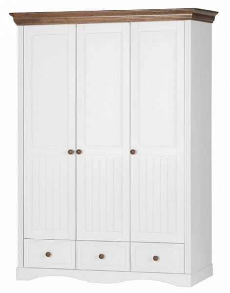 Pallesa 3-Door Birch Wardrobe 146cm - White