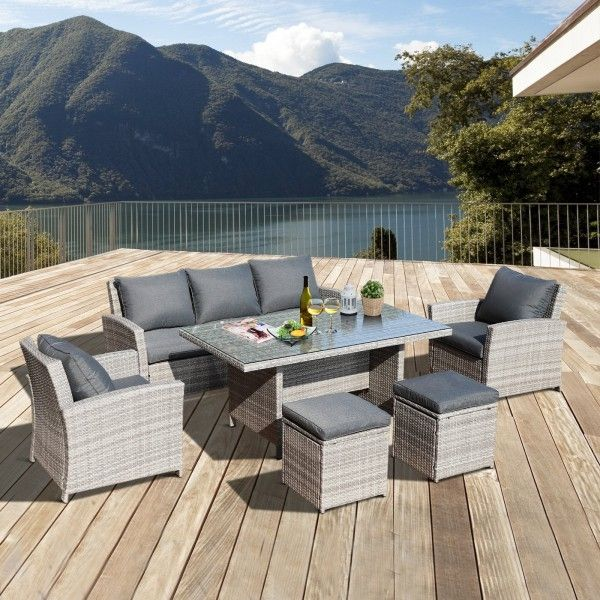 Outsunny 6PC Rattan Garden Dining Sofa Set - Grey