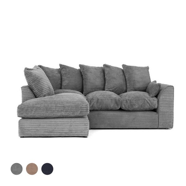 Porto Jumbo Cord Corner Sofa - Grey