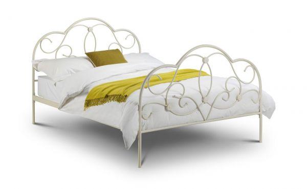 Julian Bowen Arabella Stone White Metal Bed Frame
