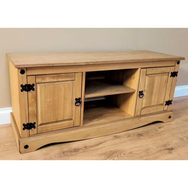 Corona Solid Pine TV Unit 2 Door 1 Shelf  - Antique Wax