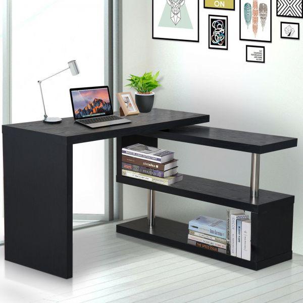 Homcom Adjustable Computer Shelving Desk - Black or White