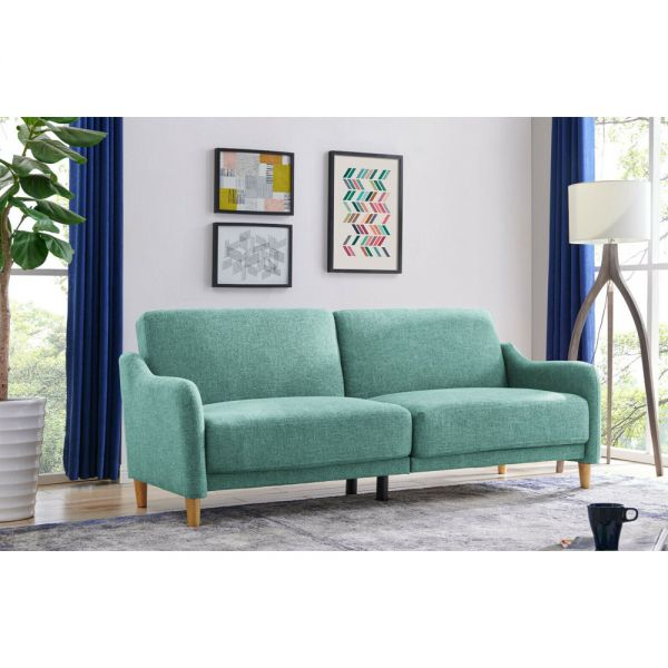 3 Seater Sofa bed With Wooden Legs - Teal and Grey