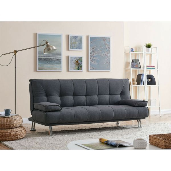 Modern 3 Seater Fabric Sofa Bed - Charcoal Grey