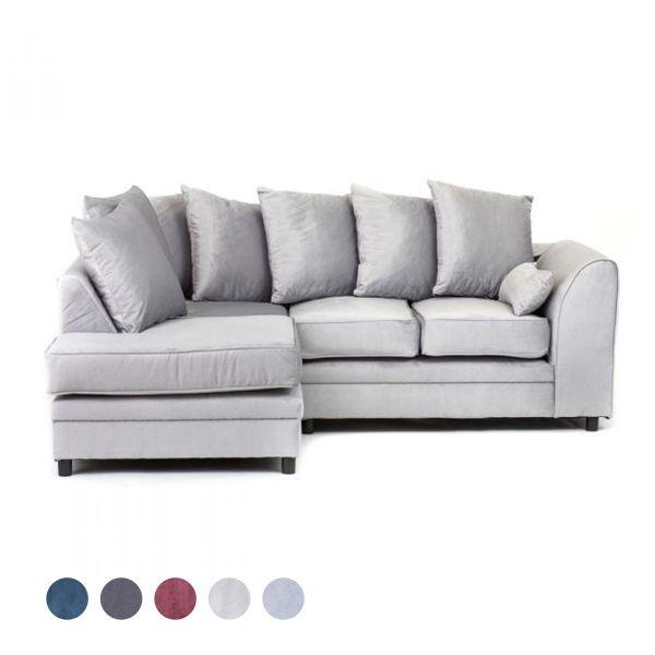 Chicago Velvet Corner Sofa - Light Grey