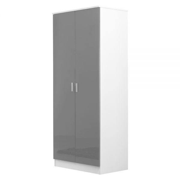 2 Door Wardrobe Matt Gloss Grey - White