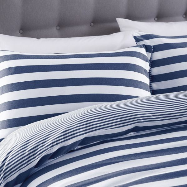 Silentnight Jersey Cotton Bedding Cover Set Navy Blue - 4 Sizes