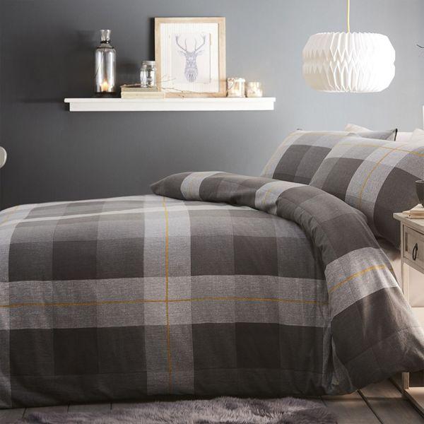 Silentnight Classic Brushed Check Duvet Pillowcase Cover Set Grey - 4 Size