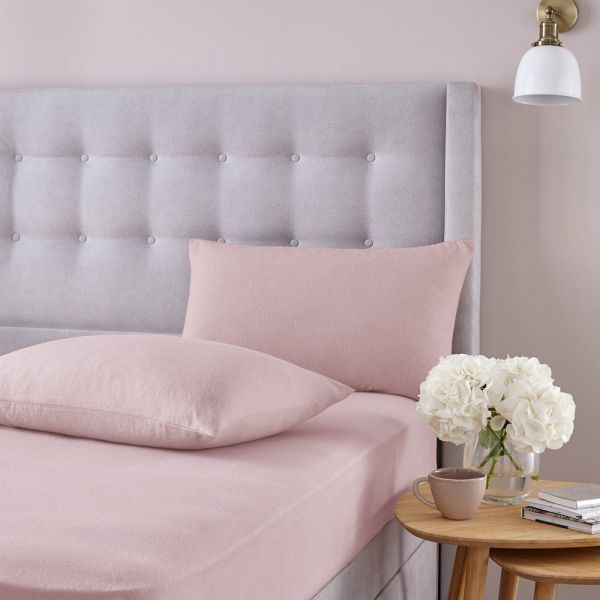Silentnight Brushed Cotton Fitted Sheet Pillowcase Cover Blush - 3 Sizes