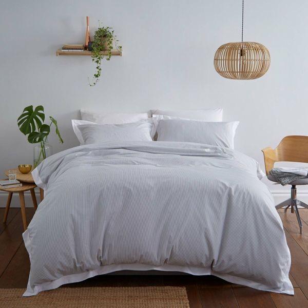 Silentnight Pinstripe Edge Duvet Pillowcase Cover Set Duck Egg - 4 Sizes