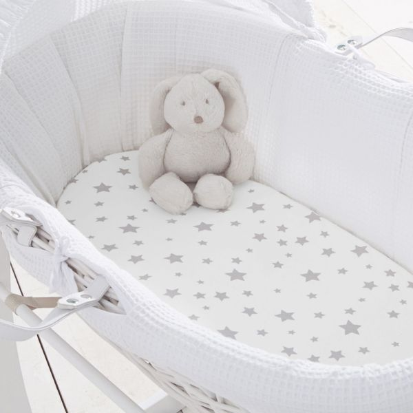 Silentnight Pure Jersey Cotton Moses Basket Fitted Sheets - 8 Colours