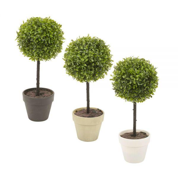 Decorative Artificial Buxus Box Ball Plant Pot - 3 Colours