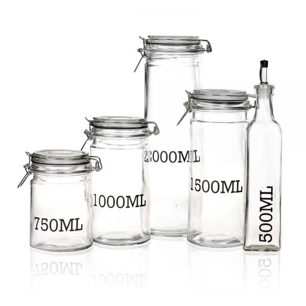 Air Tight Clamp Lid Large Glass Jar - 6 Sizes