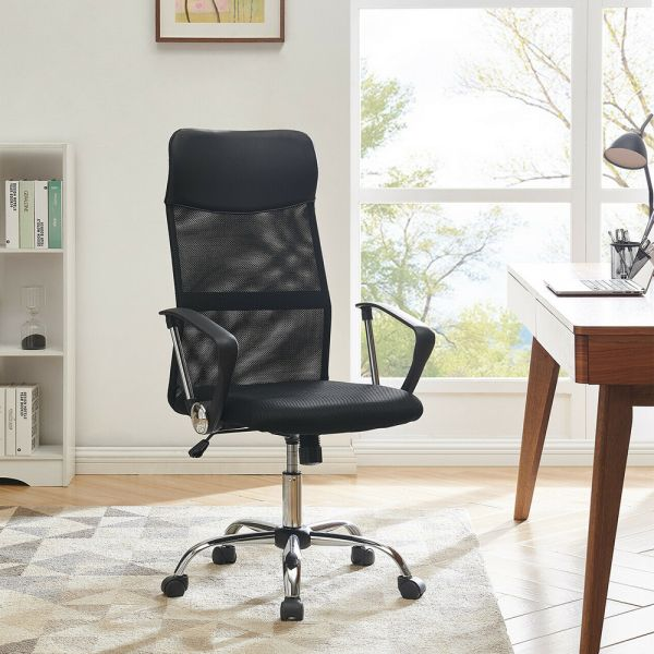 Black Mesh Office Chair PU Leather Fabric