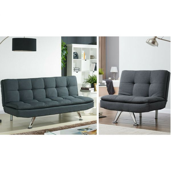 3 Seater Sofa Bed and Chair Lounge Suite - Charcoal