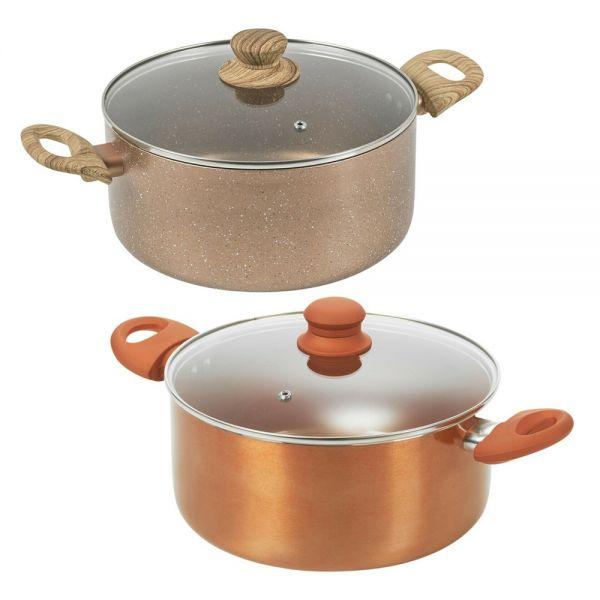 Ceramic Non Stick Stockpot Pot Rose and Copper - 3 Sizes