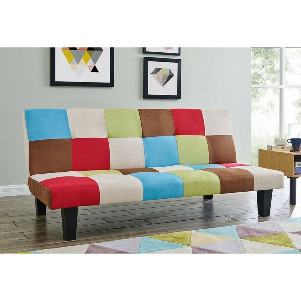 3 Seater Patchwork SofaBed -  Multi-Coloured Retro Style
