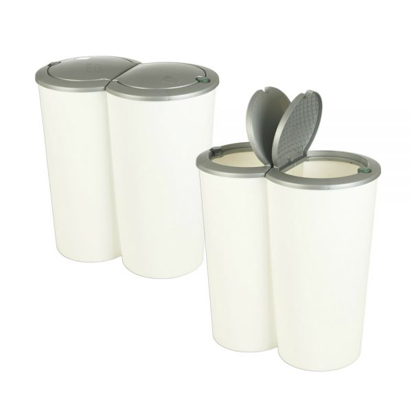 Double Sided Recycling Plastic Bin - Grey White
