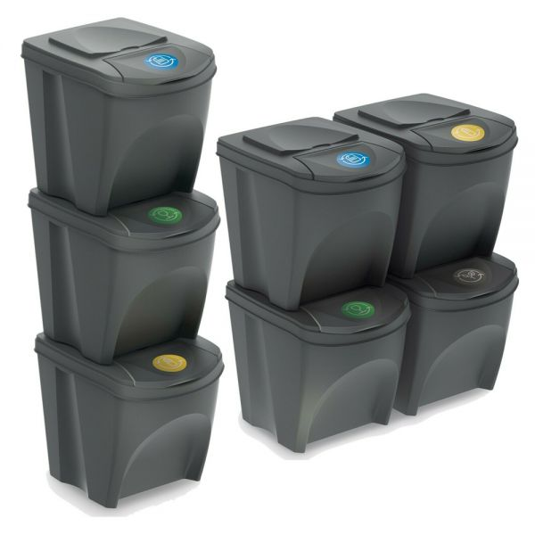 Grey Stackable Recycling Dustbin Set - 3 and 4